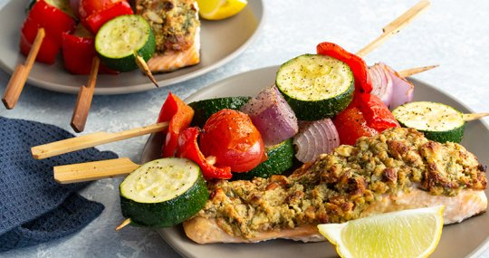 Almond & oat crusted salmon with vegetable kebabs