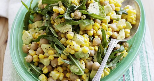 Corn, avocado and chickpea salad